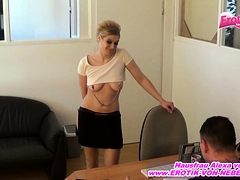 German Blond Amateur Office Secretary By Anal Plug