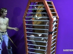 Twink In Cage Poked Into Masturbation