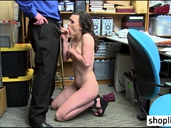Brunette MILF busted by a policeman because of felony