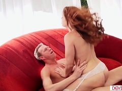 Sexy redhead gets her hairy cunt fucked