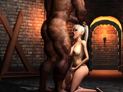 Sexy blonde gets fucked rough by a big monster in dungeon