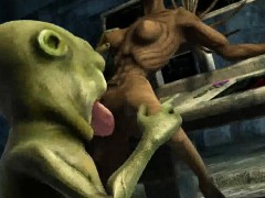 3D cartoon alien babe getting her pussy licked and fucked