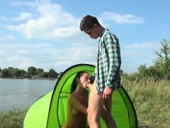 Eveline getting poked on camping site